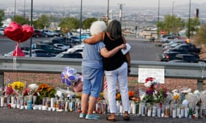 A makeshift memorial at the site of the El Paso attack. Twenty-two people died in the shooting.