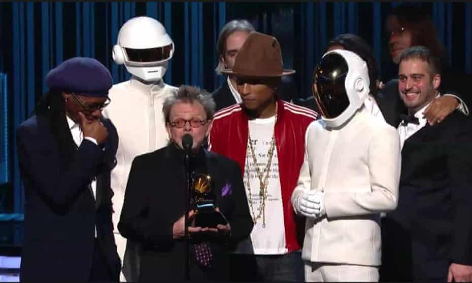 Todd Edwards, far right, on stage at the 2014 Grammy Awards.