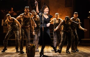 Amber Gray, centre, as Persephone in Hadestown at the National.