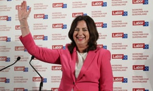Queensland premier Annastacia Palaszczuk waves to supporters at her election party in Inala – follow live Qld election results.