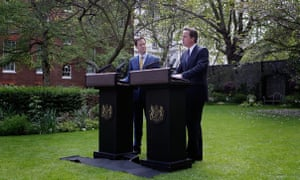 Nick Clegg and David Cameron in the rose garden of Downing Street in 2010