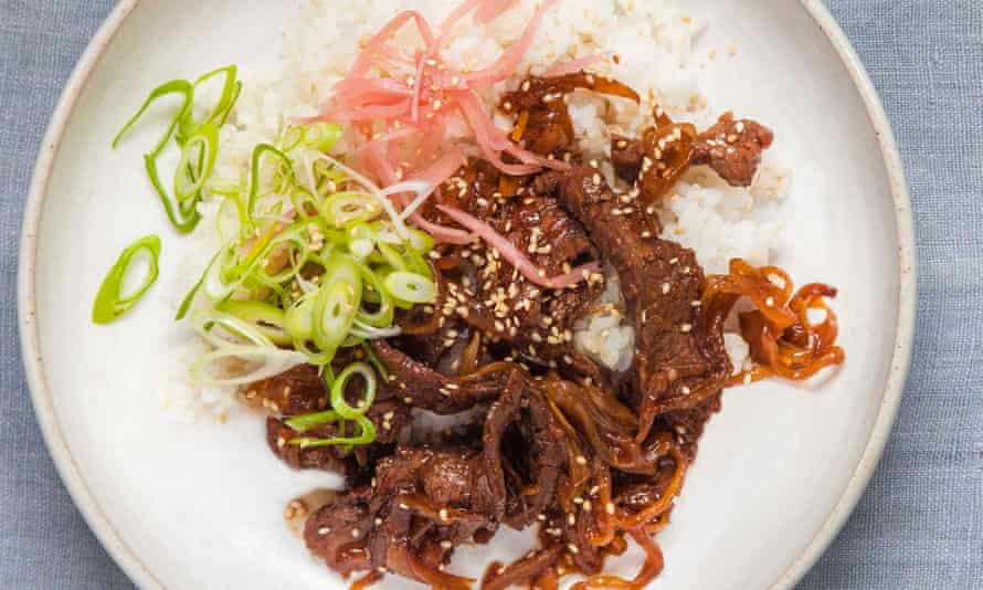 Tim Anderson's beef, onion and sweet soy rice bowl.