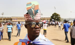 A George Weah supporter at the election rally at the Samuel Kanyon Doe Sports Complex in Monrovia, Liberia