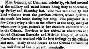 Manchester Guardian 4 Feb 1859 Mary Seacole visits servicemen