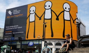 An artwork by Stik in Piccadilly Circus, London, last month as part of a campaign to support young people during the coronavirus