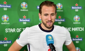 Harry Kane of England speaks to the media after receiving his star of the match award.