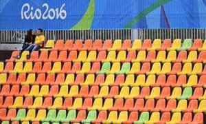 Empty seats at the men's modern pentathlon.