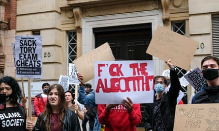 Protest outside the Department for Education over the mass downgrading of A-level results in England.
