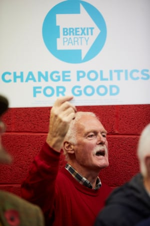 A Brexit party supporter in Derbyshire on 5 November