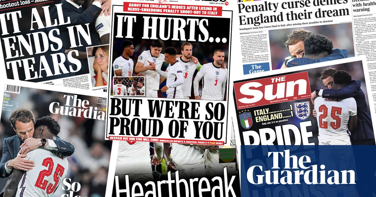 'Pride of lions': what the papers say about England's Euro final defeat