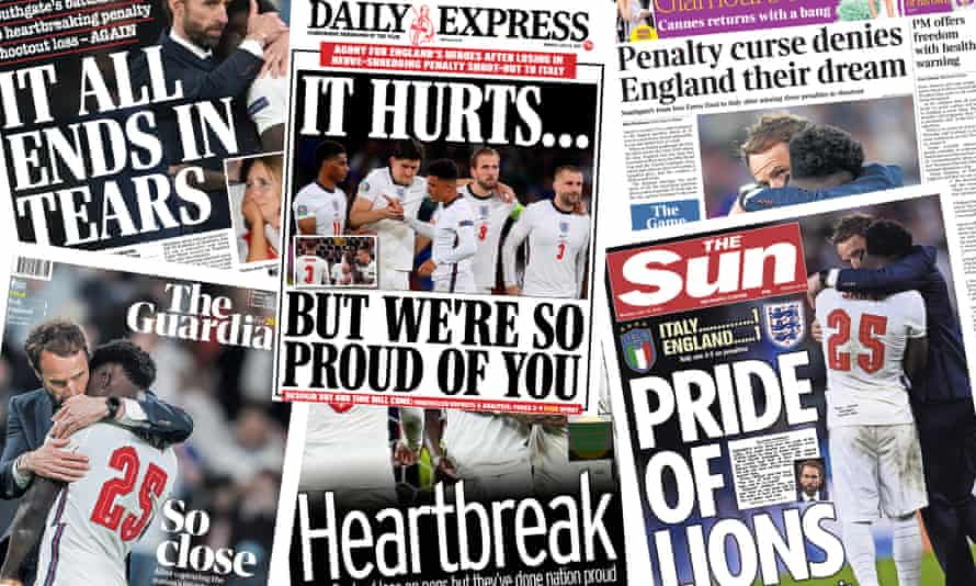 The newspaper front pages after England's defeat in the Euro 2020 final