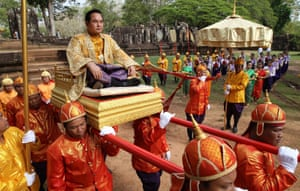 Siem Reap, Cambodia: Officers carry the governor of Siem Reap province