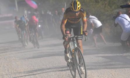 Wout van Aert of Belgium battles his way through the gravel on his way to victory.