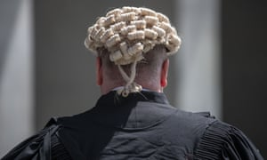 A barrister wearing a wig at the supreme court in Brisbane.