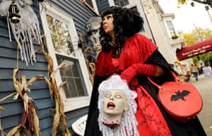 In witch case … a woman walks through Salem, Massachusetts, in costume, days before Halloween.
