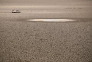 Children play near dried up municipal dam in drought-stricken Graaff-Reinet in South Africa