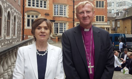 Dame Moira Gibb and Bishop Peter Hancock after a press conference in London as the Church of England publishes a report on the handling of abuse by Bishop Peter Ball.