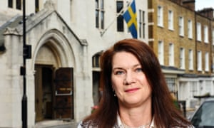 Ann Linde pictured outside the Swedish church in London last year.