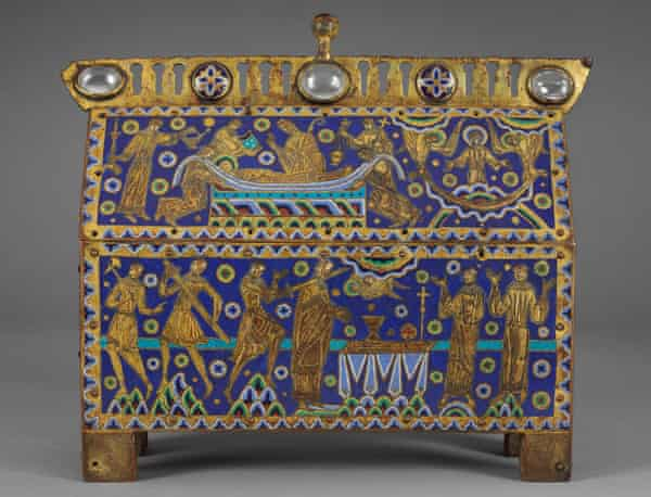 A reliquary casket showing the murder of Thomas Becket, made in Limoges, France, about 1180-1190