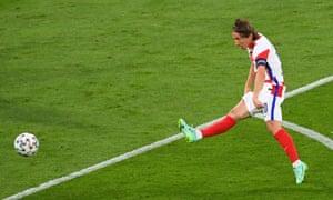 Croatia's Luka Modric shoots at goal.