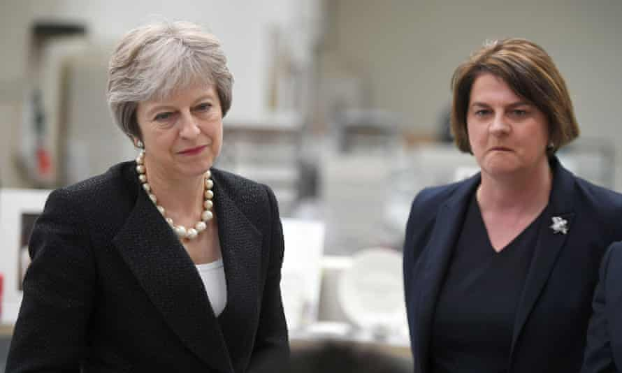 Theresa May and Arlene Foster visit a pottery n St Belleek, Fermanagh, Northern Ireland.