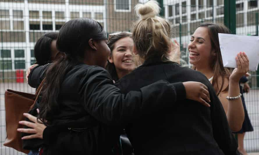 Students collect their A-level results at a north London school