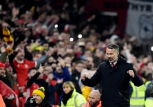 Ryan Giggs celebrates at the final whistle.