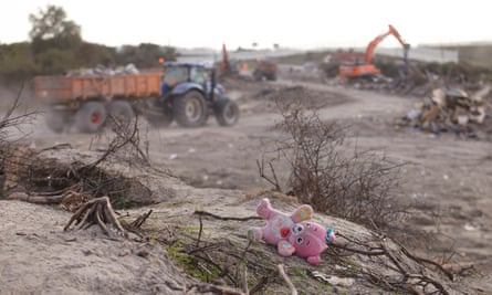 A teddy bear is left behind at the Calais refugee camp