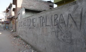 'Welcome Taliban' graffiti in Anchar