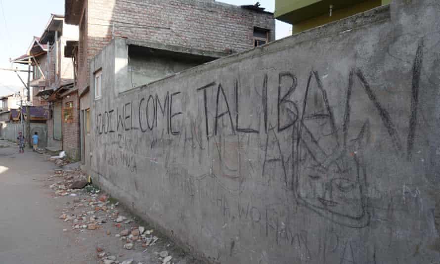 'Welcome Taliban' graffiti in Anchar