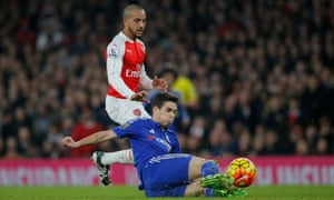 A bad day for Arsenal's Theo Walcott, being beaten to the ball by Oscar.