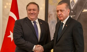 Mike Pompeo with Erdogan on Wednesday.