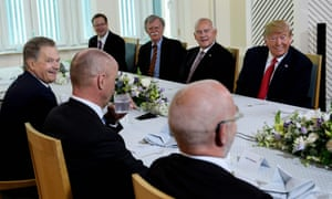 President Donald Trump wait for a breakfast at the Mantyniemi Presidential Residence in Helsinki