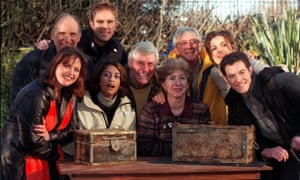 John Noakes, third from right, with other Blue Peter presenters in 2000, after digging up time capsules buried in the Blue Peter garden.
