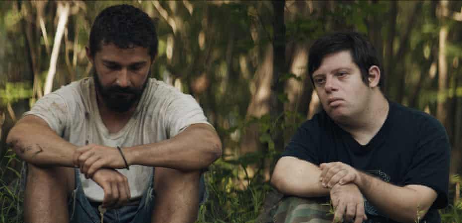 Shia LaBeouf and newcomer Zack Gottsagen in The Peanut Butter Falcon.