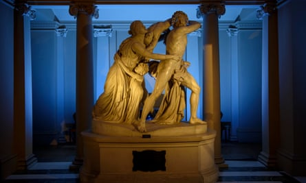 Flaxman's The Fury of Athamas lit up for Ickworth Uncovered.