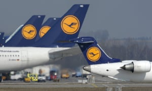 Lufthansa aircraft stand on the tarmac of the Franz-Josef-Strauss-Airport in Munich, southern Germany during a pilot's strike in March. A cabin crew strike Monday is expected to affect more than 110,000 passengers.