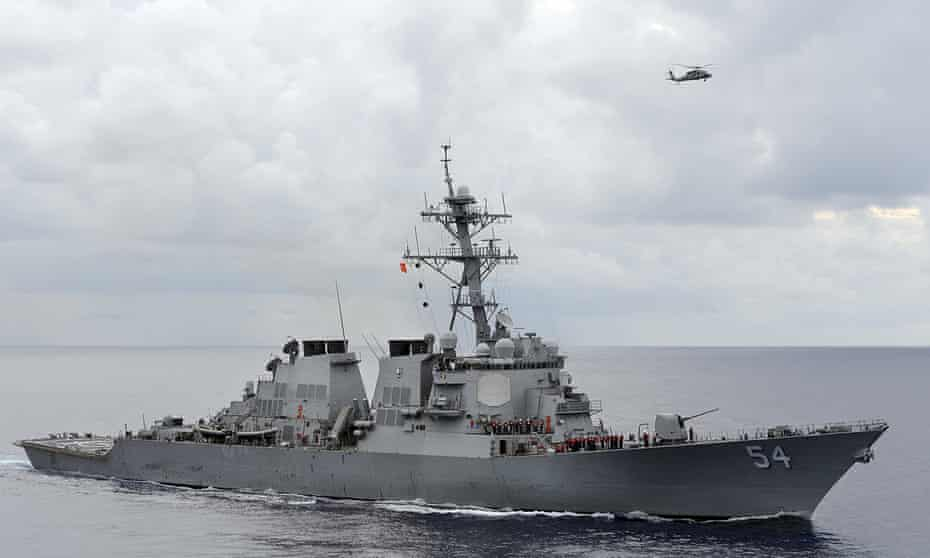 The US guided-missile destroyer USS Curtis Wilbur on patrol in 2013.