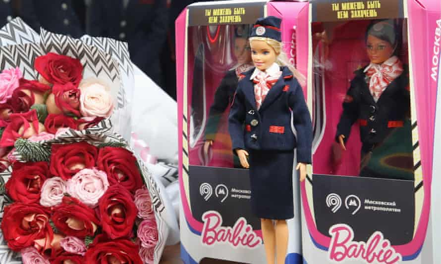 Barbie dolls in Moscow metro-branded boxes bearing the message 'You can be anything you want to be'.