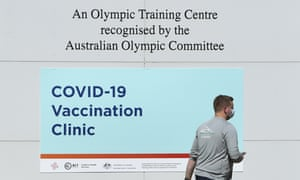 A man enters a Covid-19 vaccination clinic at the Australian Institute of Sport (AIS) in Canberra on Wednesday, 6 October, 2021.