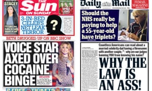 Sun on Sunday and Daily Mail front pages on the celebrity injunction