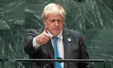 76th Session of the UN General Assembly<br>epa09482712 British Prime Minister Boris Johnson gives a thumb up after addressing the 76th Session of the UN General Assembly in New York City, New York, USA, 22 September 2021. EPA/EDUARDO MUNOZ / POOL