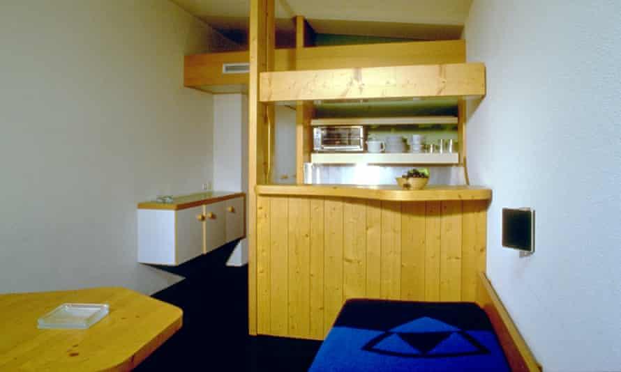The open kitchen area of Charlotte Perriand's ski apartments
