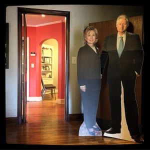 Cardboard cutouts of Bill and Hillary Clinton inside the house