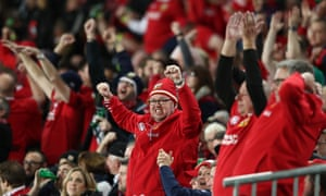 Lions fans celebrate as Owen Farrell kicks a long range penalty to level the scores at 12-12.