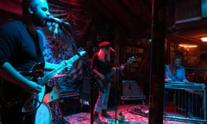 The 'Sunday night' band on stage at Pappy and Harriet's, Pioneertown, California, US.