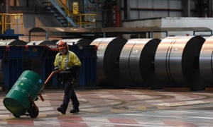 A steel worker at Port Kembla in Wollongong.