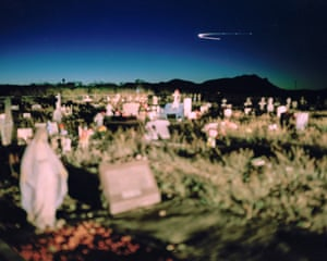 Luis Lopez cemetery, Socorro county, New Mexico. Luis Lopez is a town in one of four counties being studied for health impacts resulting from radiation fallout from the 1945 Trinity Atomic test. Unlike residents of Nevada and Utah, those in New Mexico have never been acknowledged or covered under the Radiation Exposure Compensation Act. Luis Lopez residents say dozens of people in the cemetery died of cancer and wonder if it is linked to the Trinity test. Residents within 150 miles of the Trinity site have a higher incidence of cancer than in other parts of New Mexico