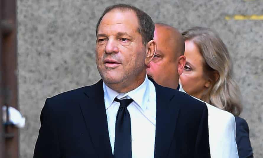 Harvey Weinstein exits court in New York City, on 26 August.