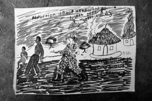 A child's drawing expressing some of the atrocities they have witness and lived through